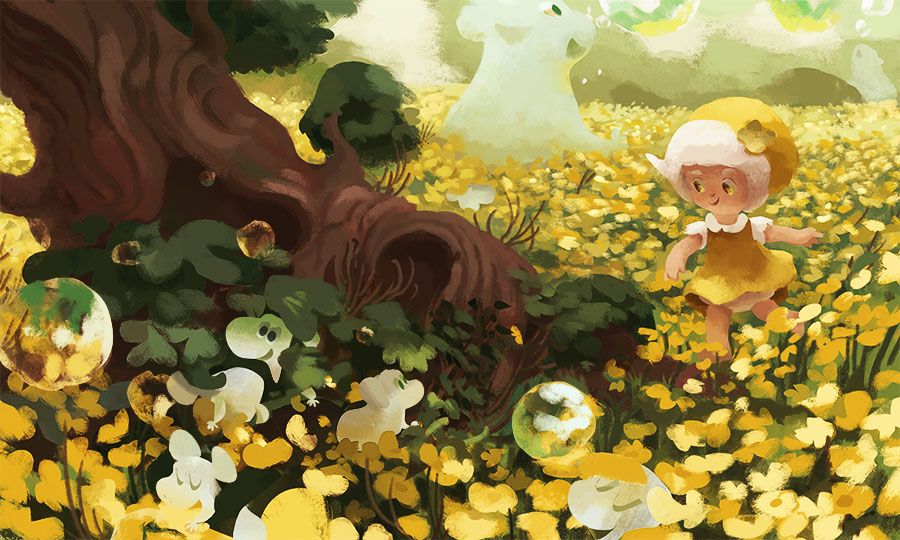 Illustration of a small girl walking through a yellow buttercup field. The field has gigantic and small creatures blowing bubbles in the air