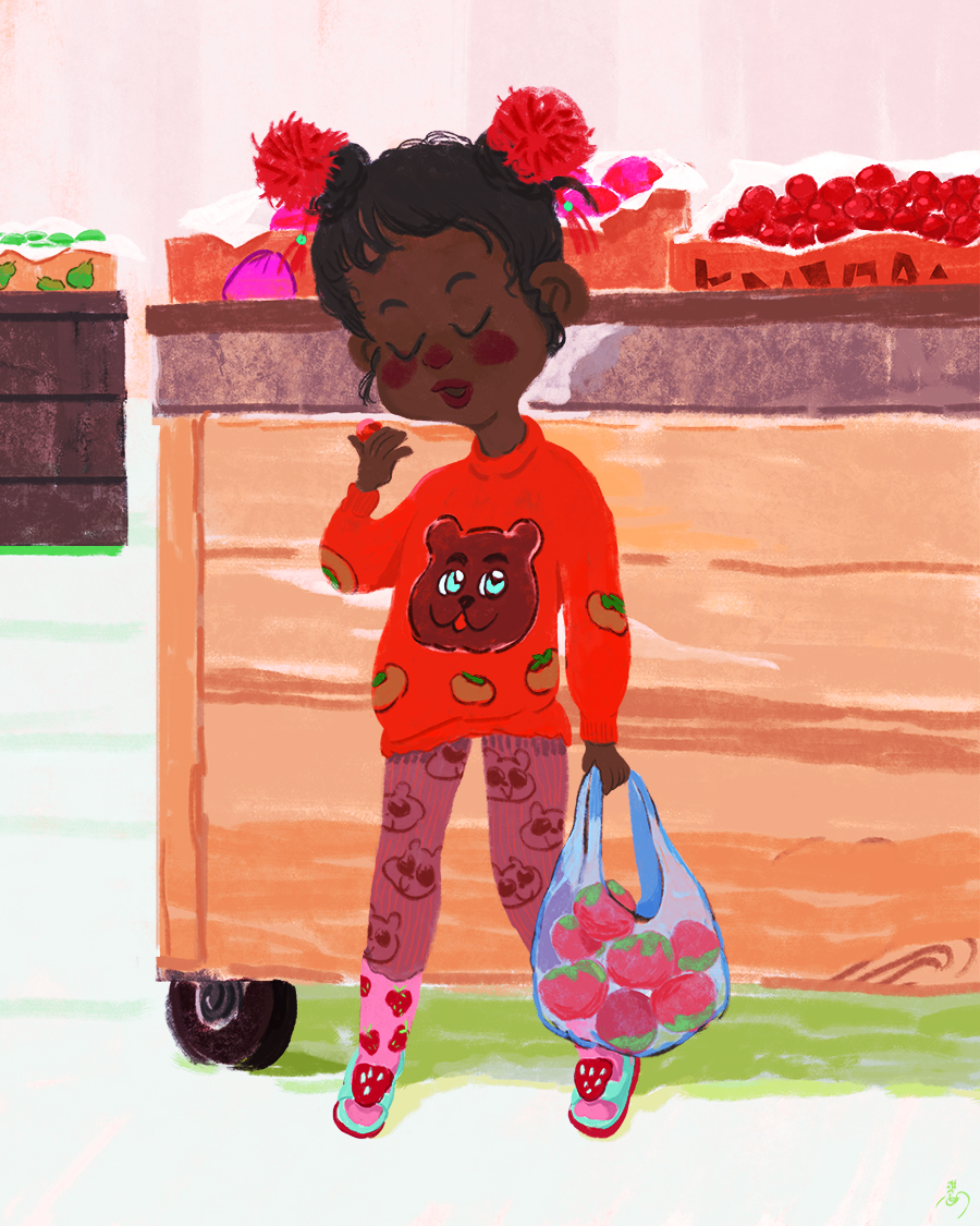 Illustration of a black girl eating cherry