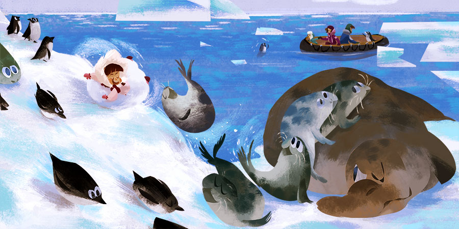 Illustration of a girl having fun with her arctic friends