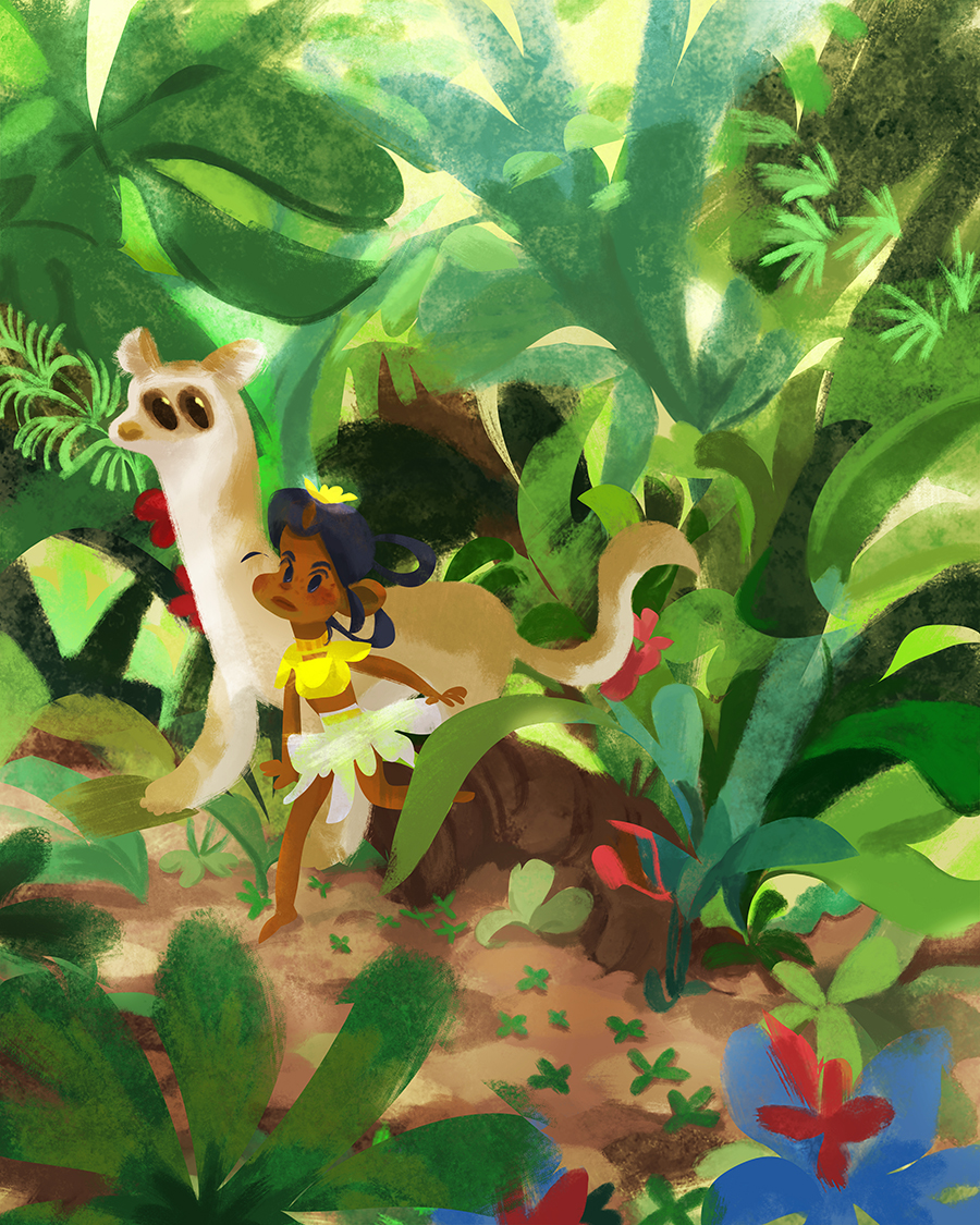 Illustration of a girl and her big cat in the jungle