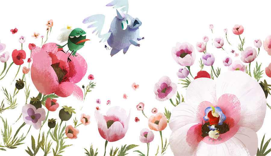 Illustration of characters and poppy flowers