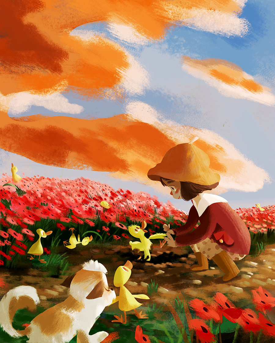 Illustration of a girl, her dog and some ducklings at poppies field