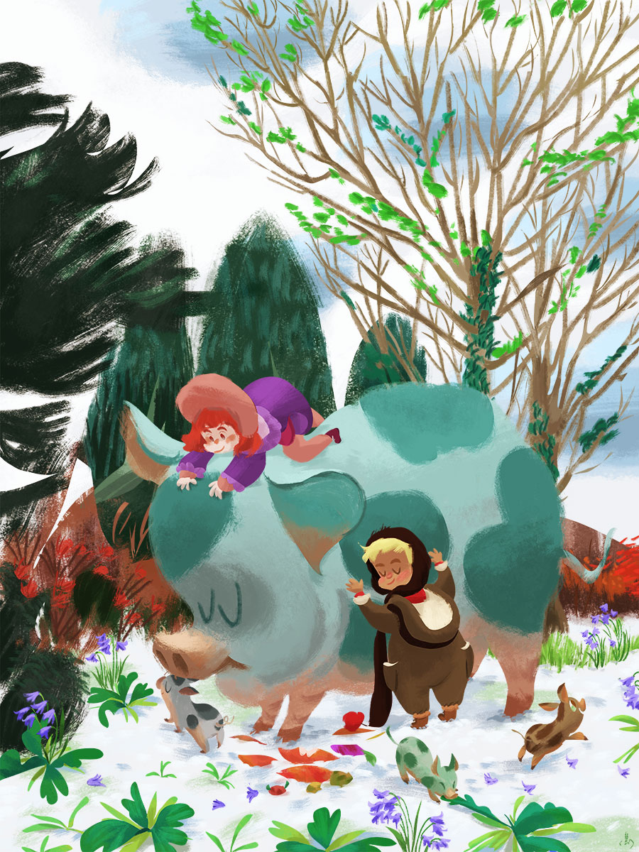 Illustration of children playing with their teacup pigs in the winter