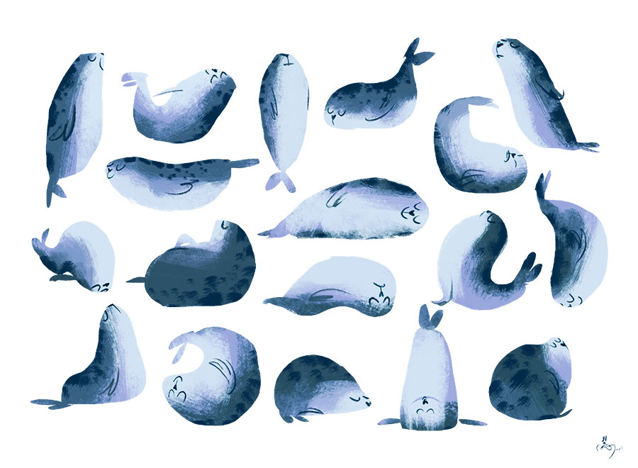 Illustration of a seal in different yoga poses